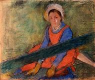 Woman On Bench Painting