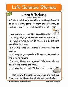science reading comprehension worksheets 13441 reading comprehension worksheet living nonliving