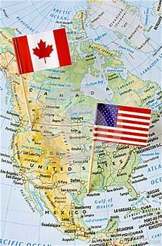 canada and usa flag map image 58660407