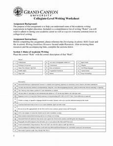 unv 103 week 5 college level writing worksheet