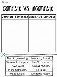 writing complete sentences worksheets 22136 complete sentences vs incomplete sentences sorting worksheets chang e 3 cut and paste and