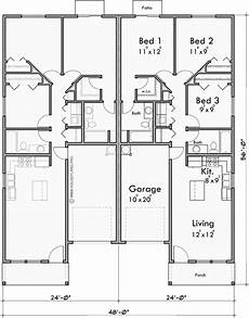 house plans for duplexes three bedroom duplex house plan with garage in middle 3 bedrooms