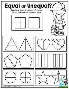 equal or unequal fractions at each of shapes and