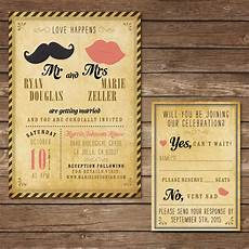 printable hipster wedding invitation with rsvp card digital