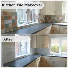 How To Paint Kitchen Tiles Before And After by Kitchen Makeover Changing Wall Tiles