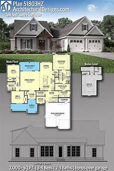 country craftsman house plans plan 51803hz split bed country craftsman house plan