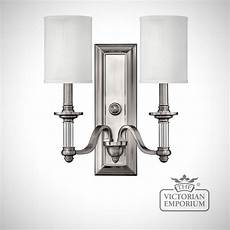 sussex double wall sconce with white shades