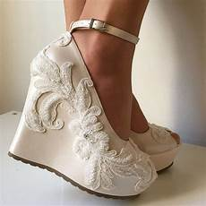 Comfortable Ivory Bridal Shoes Wedges