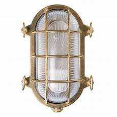 oval bulkhead flush outdoor wall light unlacquered brass