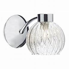 modern chrome wall light with ribbed glass shade mesh detail