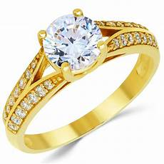 14k solid yellow gold cz cubic zirconia solitaire engagement ring 1 0 ct ebay