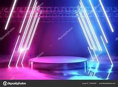 neon illuminazione illuminazione al neon e fase piattaforma foto stock