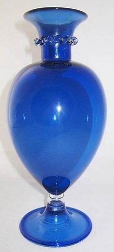 murano glass venini tiziano zaff cobalt vase by