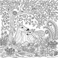 deer forest coloring page digital by crista forest