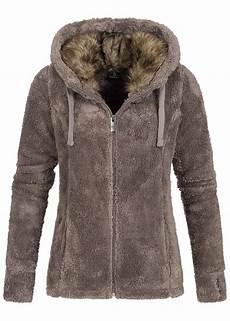 eight2nine damen teddyfleece zip hoodie kapuze 2 taschen