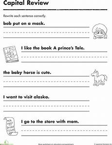 writing sentences from pictures worksheets 22214 practicing capitals worksheet education