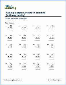 addition worksheet with regrouping for grade 2 9554 addition worksheets add 2 digit numbers in columns with regrouping k5 learning