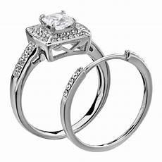 wedding ring stainless steel princess cut aaa cz cubic zirconia 5 10 ebay