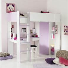 Kinderzimmer Lila Weiß - hochbett milas wei 223 lila mit kleiderschrank schreibtisch