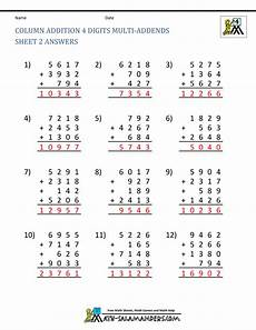 worksheets addition with 4 digit addends 9152 free math addition worksheets 4th grade