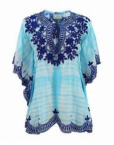 lyst taj embroidered blouse in blue lyst taj short sleeve v neck embroidered tye dye tunic in blue