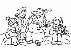 Schneemann Kinder Ausmalbild Kostenlose Malvorlage Schneem 228 Nner Drei Kinder Und