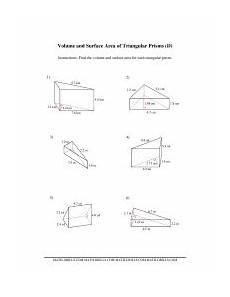 volume and surface area of triangular prisms d measurement worksheet