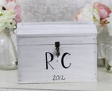 personalized wedding card box with lock rustic distressed