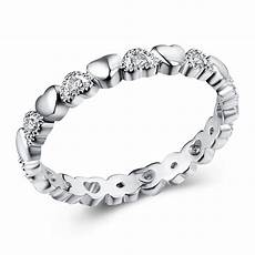 silver stackable ring love heart cz finger pandora rings