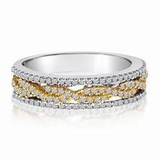 multi row infinity diamond ring wedding band 14k two tone gold 0 51ct cm132