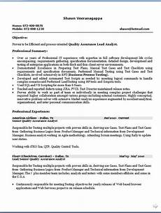 oriented quality assurance lead analyst sle resume format in word free download