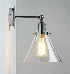 chrome wall light with glass cone shade tudo co tudo and co