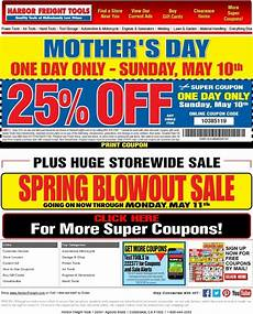 s day printable coupons 20520 harbor freight don t forget s day 25 coupon sunday may 10th only milled