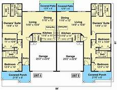duplex ranch home plan with matching 3 bed units 72965da