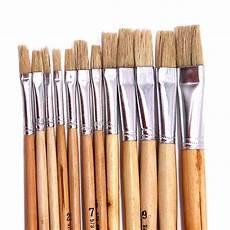 12pcs set wood rod pig bristle paintbrush