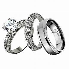 his hers 3 piece men stainless steel wedding engagement ring band ebay