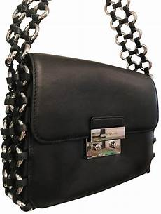 michael kors piper large flap chain purse black silver
