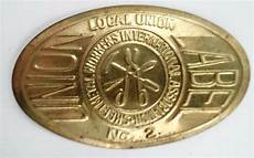 sheet metal workers international smwia local 2 solid thin brass union label tag ebay