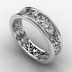 filigree diamond wedding band unique lace ring vintage