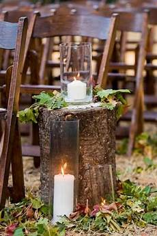 diy wedding ideas tree stumps and leaves for a fall