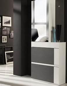 meuble d entrée moderne 39907 meuble d entr 233 e moderne avec meuble 224 chaussures diego coloris blanc et gris cendr 233
