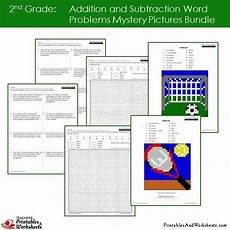 algebra worksheets 8420 2nd grade addition and subtraction word problems mystery pictures coloring worksheets bundle