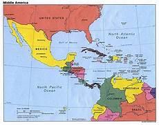 Politische Landkarte Mittelamerika 1994 Englisch