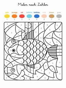 kostenlose malvorlage malen nach zahlen fische ausmalen