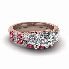 princess cut u prong diamond accented wedding ring with pink sapphire in 18k rose gold