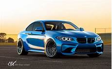 blue bmw m2 upgraded with carbon fiber finished edc wheels my car portal