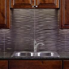 Metallic Kitchen Backsplash Fasade 24 In X 18 In Waves Pvc Decorative Tile