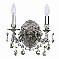 wall sconces 2 light with pewter silver shade cut cast brass candelabra 11 inch 120 watts
