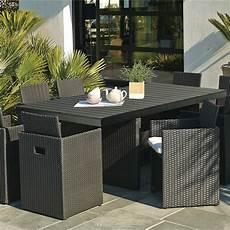 salon de jardin encastrable r 233 sine tress 233 e noir 1 table