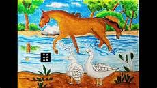 Mewarnai Hewan Kuda Dan Bebek Bermain Di Sungai Dengan